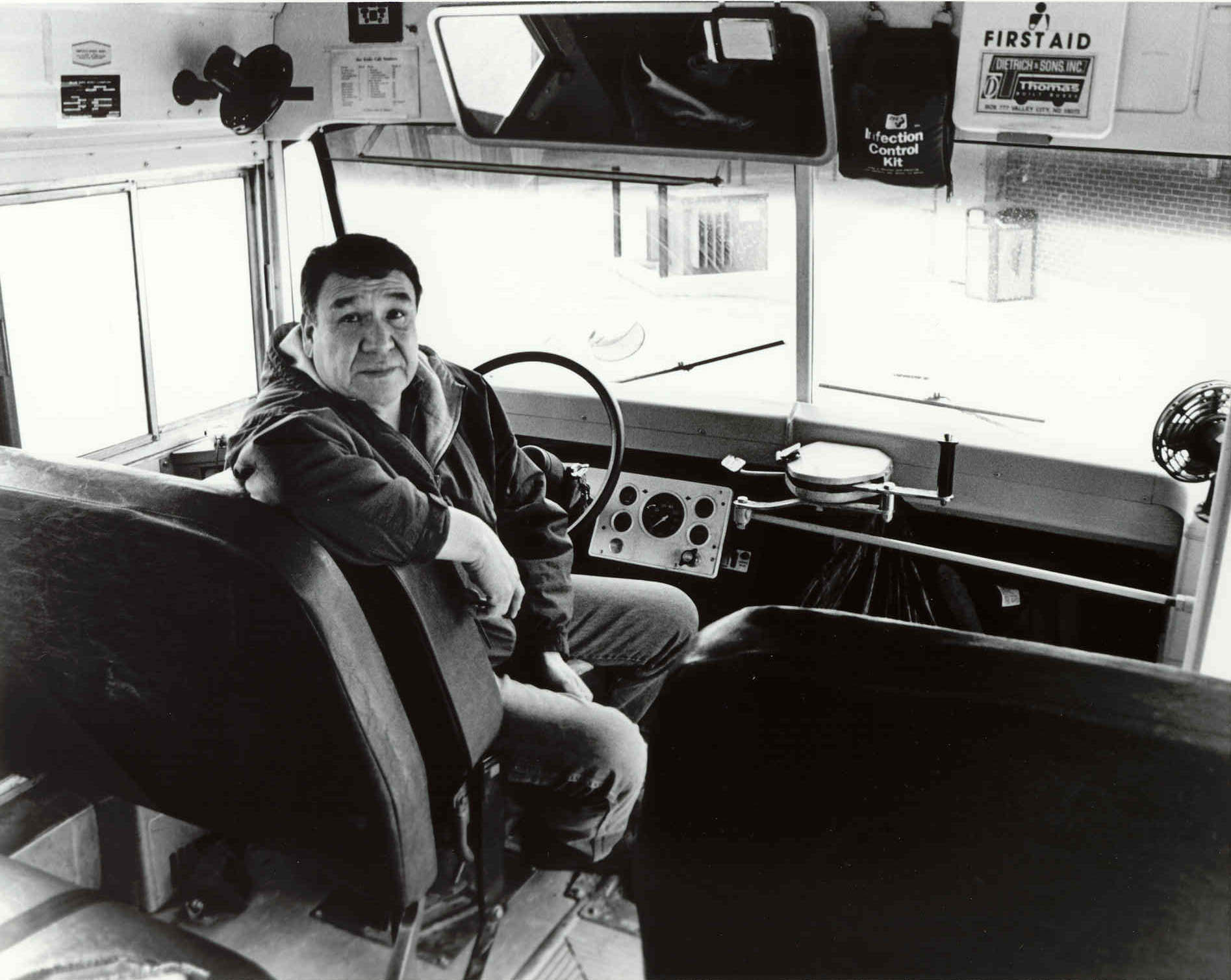 "Schoolbus Driver"" , black & white photograph, 2001, 8"" x 10"", price ..."